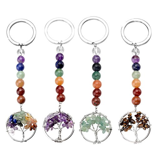 Jovivi 4pcs Women 7 Chakra Tree of Life Keyrings Healing Crystals Beads Tumbled Gemstone Keychains Couples Friendship Key Ring Chain