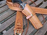 Shotgun Lilli Gun Belt - Leather - 22 Caliber - Natural Color with Right Handed Smooth Holster Combo (Natural, 52')