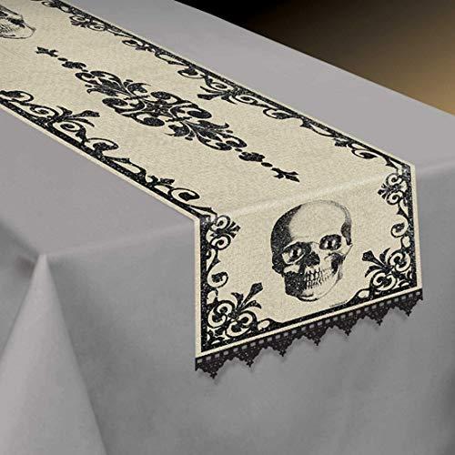 NET TOYS Dekorative Tischdecke Friedhof - Schwarz-Beige 35x180cm - Stylisches Party-Zubehör Tisch-Schmuck Totenschädel - Bestens geeignet für Mottoparty & Horror-Party