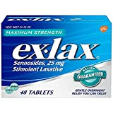 Ex-Lax Maximum Strength Sennosides, 25 mg, Stimulant Laxative Tablets for Gentle overnight relief, 48 count