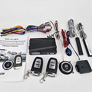 3T6B Updated Version Passive Keyless Entry Immobilizer System PKE Engine Starter Auto Central Lock Push Button Vehicles Start/Stop Kit Safe Lock with 2 Smart Key