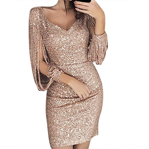 Shakumy Women Sequin Long Sleeve Mini Dress Shining Glitter Bodycon Formal Party Dress Cocktail Evening Club Short Dress Montana