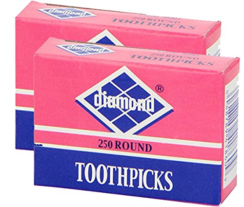 Diamond Toothpicks, Round Natural Wooden Bamboo Tooth Picks For Teeth, Appetizers and Cocktail 500 Count