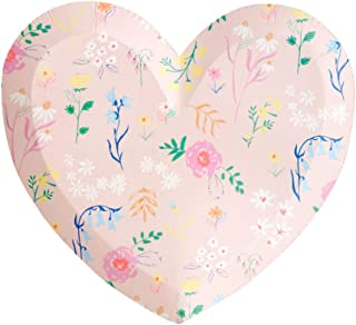 Meri Meri, Wildflower Heart Plate, Birthday, Party Decorations - Large