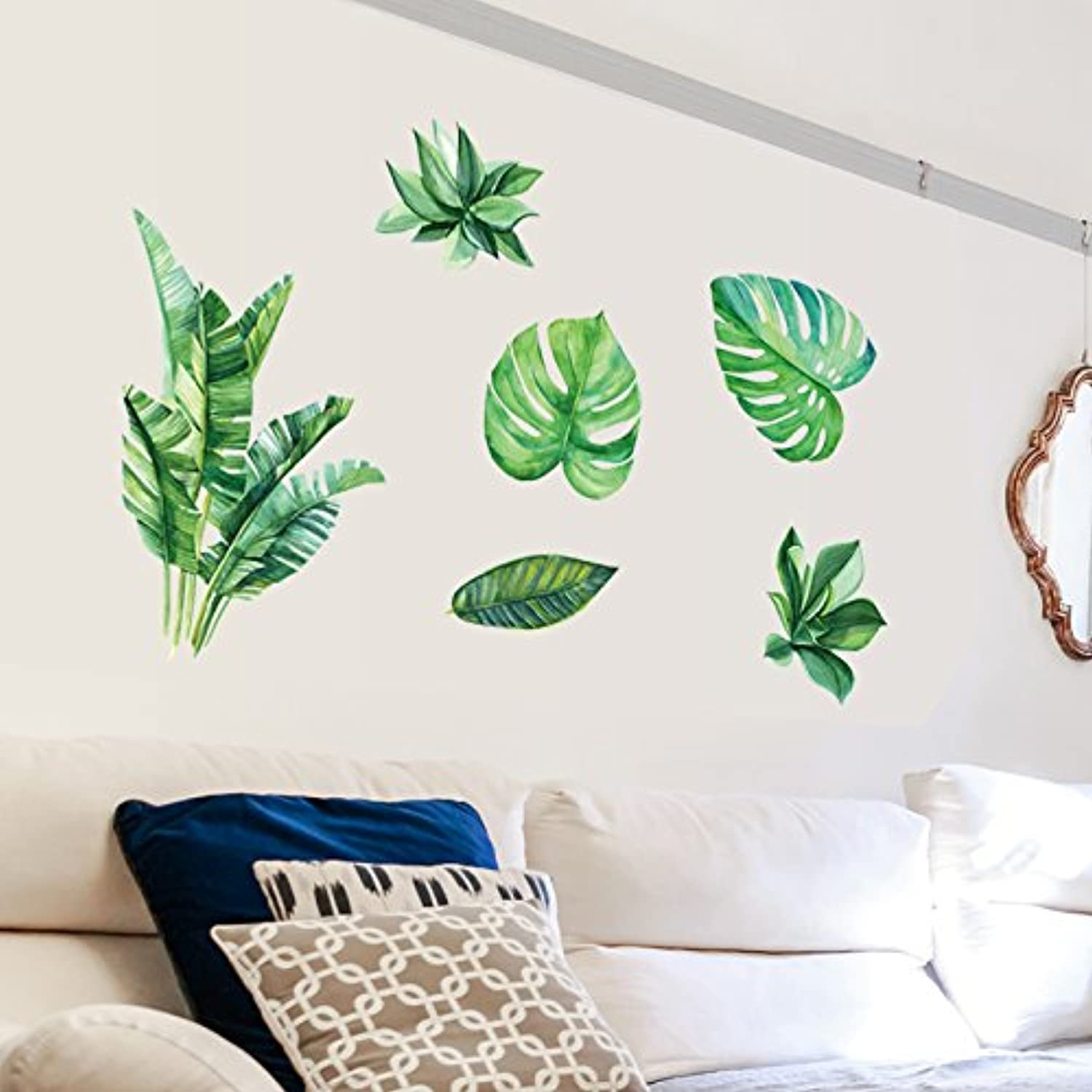 Znzbzt Leaves Wall Stickers Personality Creative Bedroom Stickers Restaurant Green Stickers, Green Plants, Large