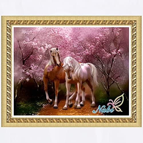 DIY 5D Kit de nmeros de pintura de diamantes Animal Horse Crystal Rhinestone Bordado Picture Crafts Home Decoracin de pared Regalo Diamante redondo 50x40cm