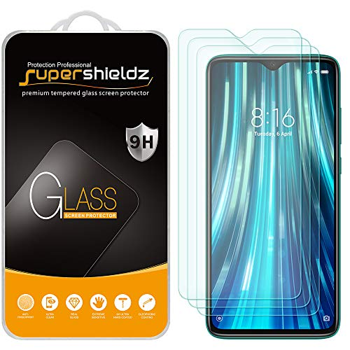 (3 Pack) Supershieldz for Xiaomi (Redmi Note 8 Pro) Tempered Glass Screen Protector, Anti Scratch, Bubble Free