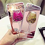 ICI-Rencontrer Super Luxury Fashion 3D Liquid Quicksand Flowing Floating Bling Glitter Goblet Wine Glass iPhone 7/8 Plus Case Transparent Soft TPU Anti-Scratch Protective Case (iPhone 7/8 Plus, Rose)
