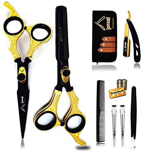 Jecudi Professional Hair Cutting Scissors Set - Handmade Japanese Stainless Steel , includes Barber Scissors , Hair Shears, Tweezers, Razor, 10 Blades, Comb, 2 Hair Clips & Cleaning Cloth.