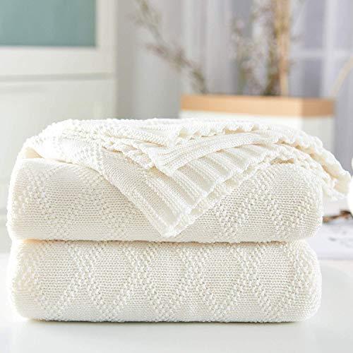 Shaddock Baumwolle Gestrickte Decke 4 Jahreszeiten Bettdecke- 130x180cm Ultra Weiche überwurf Decke Wohn-Kuscheldecke für Baby Couch Bett Sofa Stuhl Auto Büro (Weiß, Rautenmuster)
