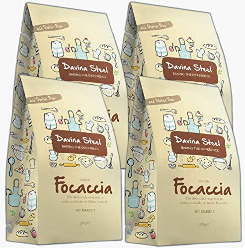Davina Steel - Gluten Free & Coeliac Friendly Baking Mixes (Onion Focaccia (Yeast Included), 4-Pack)