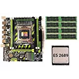 Zayaa Juego de Placa Base X79G LGA2011 Mini ATX Combos PC Computadoras de Escritorio Placa Base E5 2689 CPU + 4 * 8GB RECC Memory Support M.2 USB2.0