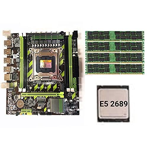 SJZERO Juego de Placa Base X79G LGA2011 Mini ATX Combos PC Computadoras de Escritorio Placa Base E5 2689 CPU + 4 * 8GB RECC Memory Support M.2 USB2.0