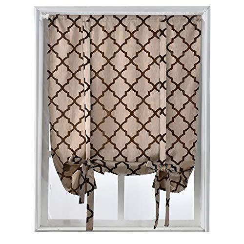 """NAPEARL Jacquard Geometric Tie Up Balloon Curtain Roman Rod Pocket (42"""" Wx63 L, Brown)"""