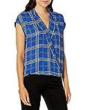 Vince Camuto Women's Extend Shoulder Highland Plaid Blouse, Electric Blue, Large