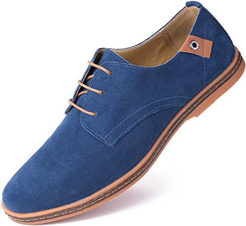 Marino Suede Oxford Dress Shoes for Men - Business Casual Shoes (Blue, 9.5)