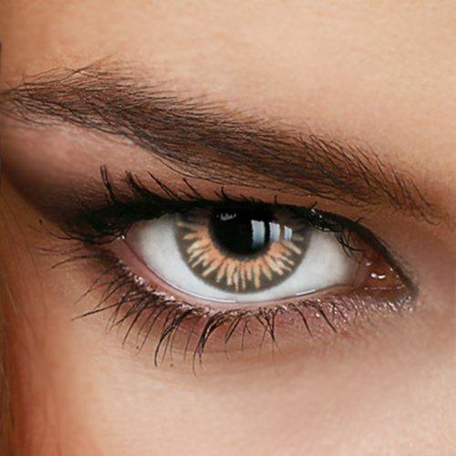 Farbige Jahres-Kontaktlinsen Rainbow HONEY - OHNE Stärke - BEIGE - von LUXDELUX® - (+/- 0.00 DPT)