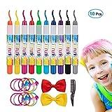Craie pour cheveux, 10 stylos à craie iTrunk pour coloration des cheveux et maquillage pour visage, craie non-toxique à cheveux temporaire, Cadeaux d'anniversaire idéaux pour filles âgées de 4-11 ans