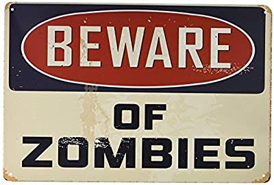 Bilingo Cartel de Metal para Pared Beware of Zombies ...