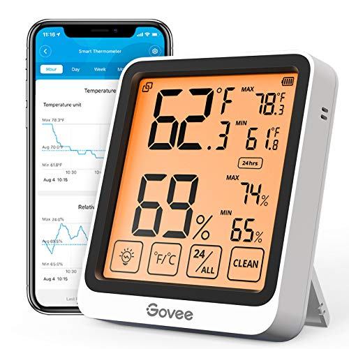 Govee Bluetooth Hygrometer Indoor Thermometer, Digital Wireless Temperature Humidity guage with 4.5 Inches Large Backlight LCD Touchscreen, Notification Alert, 2 Year Data Storage for Room, Greenhouse