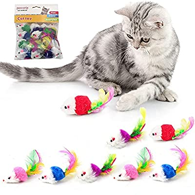 pawstrip Cat Toy Furry Mice,Rattling Cat Toy Mouse with Further Tail, Pack of 12pcs