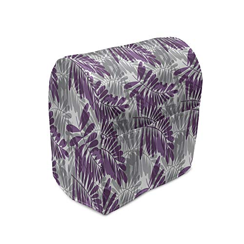 Lunarable Purple and Grey Stand Mixer Cover, Exotic Forest Leaves Silhouettes Tropical Bicolor Foliage Illustration, Kitchen Appliance Organizer Bag Cover with Pockets, 6-8 Quarts, Purple Grey