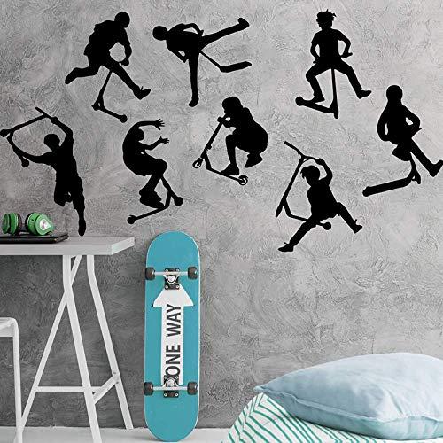 8er Set Stunt Scooter Wandaufkleber Jungenzimmer Kinderzimmer Stunt Scooter Fahrrad Sport Wandtattoo Schlafzimmer Vinyl Dekoration 56cmwidex77cmhigh