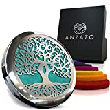 Car Essential Oil Diffuser - 1.5' Magnetic Locket Set with Air Vent Clip - Best for Aromatherapy - Fragrance Air Freshener, Scents Diffusers - Jewelry for Car, Tree of Life