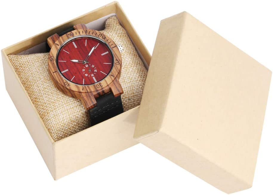 IOMLOP Inventory cleanup selling sale security Wood Watch Excellent Men Leather Wooded Band W
