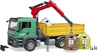 Bruder 03753 Man TGS Truck with Loading Crane, 3 Recycling Containers and Bottles