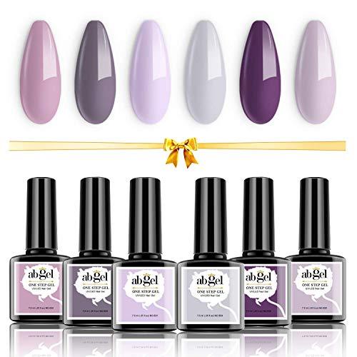 Ab Gel - Juego de 6 esmaltes de uñas en gel, clásico, púrpura, elegante, colección de esmalte en gel de un paso, juego de manicura para decoración de uñas con lámpara LED / UV