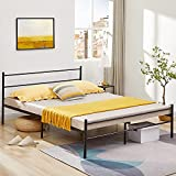 Aingoo Queen Bed Frame Metal Platform Bed Frame with Headboard and Footboard, Steel Slat Support Mattress Foundation, No Box Spring Needed, Black