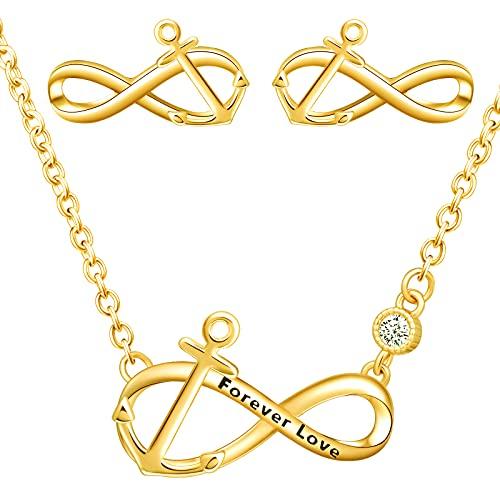 Yumilok Juego de collar y pendientes de plata de ley 925 con símbolo del infinito, colgante de ancla, para mujer y niña, Plata esterlina Circonita,