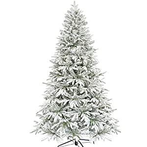 KI Store Artificial Flocked Christmas Tree 7.5ft Unlit Hinged Christmas Fir Tree with Snow Realistic Xmas Tree