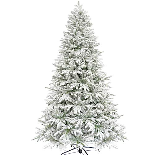 KI Store Artificial Flocked Christmas Tree 7.5ft Unlit Hinged Christmas Fir Tree with Snow Realistic Xmas Tree