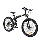 hosote 26 Inch Full Suspension Folding Mountain Bike, 21 Speed High-Tensile Carbon Steel Frame MTB, Dual Disc Brake Mountain Bicycle for Men and Women