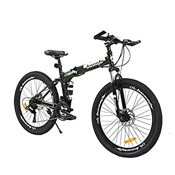 hosote 26 Inch Full Suspension Folding Mountain Bike 21 Speed High-Tensile Carbon Steel Frame MTB Dual Disc Brake Mountain Bicycle for Men and Women
