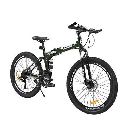 hosote 26 Inch Full Suspension Folding Mountain Bike, 21 Speed High-Tensile Carbon Steel Frame MTB,...