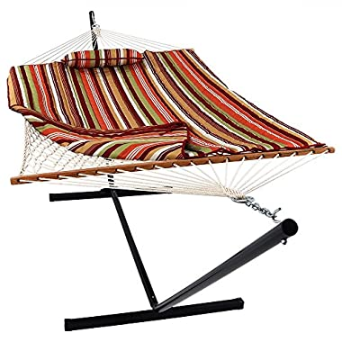 Sunnydaze Cotton Rope Hammock with 12 Foot Portable Steel Stand and Spreader Bar, Indoor or Outdoor Use, Pad and Pillow Included, Tropical Orange