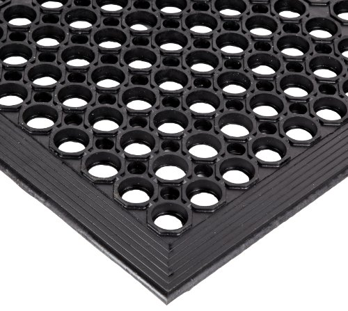"NoTrax Rubber 562 Sanitop Anti-Fatigue Drainage Mat, for Wet Areas, 3' Width x 10' Length x 1/2"" Thickness, Black"