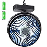 REENUO 7-Inch Camping fan with Led Lights Portable 5000mAh Rechargeable Battery Powered Tent Fan for Hurricane, Emergency, Storm, Outdoor