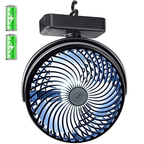 REENUO Ventilador de Camping de 7 Pulgadas con Luces LED portátil de 4400 mAh batería Recargable para Tienda de campaña para huracán, Emergencia, tormenta, al Aire última intervensión