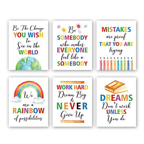 "HPNIUB Colorful Words Art Prints, Set of 6 (8""X10""), Inspirational Quotes Motivational Saying Canvas Poster, Rainbow World Crayon Ink Splatters Wall Art for Nursery Classroom Kids Playroom, No Frame"
