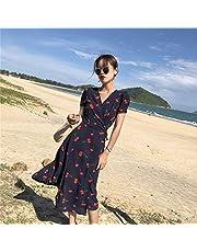 المرأة أزياء الكرز المطبوعة الملفوفة اللباس ضئيلة قصيرة الأكمام ماكسي فساتين
