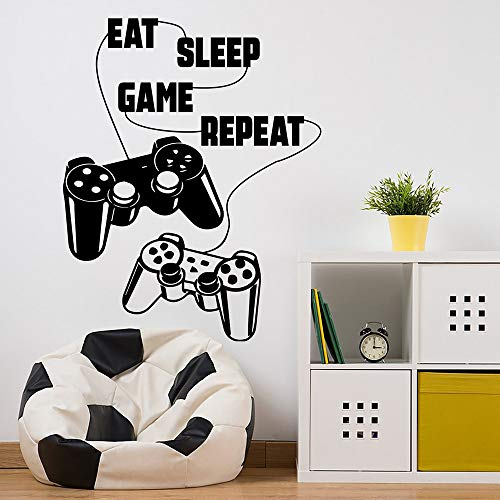 Eat Sleep Game Repeat Game Gamer Vinilo Etiqueta de la pared Juego Creativo Etiqueta de la pared extraíble