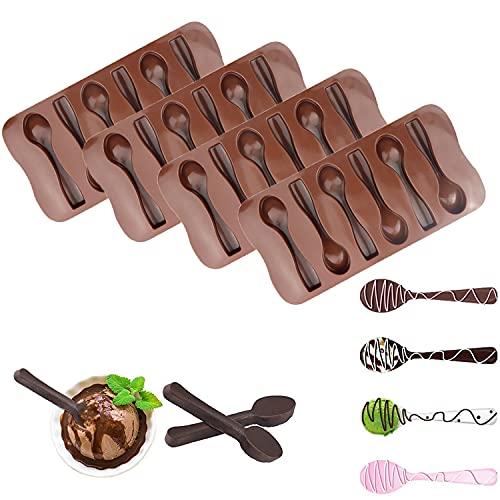 Moldes de silicona para cuchara de chocolate, 6 cavidades con forma de cuchara para hacer bombas de chocolate caliente, pasteles, gelatina, caramelo, galletas, galletas, postres (4 unidades)