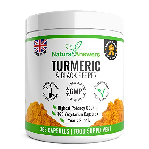 365 Turmeric & Black Pepper Capsules - High Strength Turmeric Capsules Turmeric Tablets 365 Vegetarian Capsules (1 Year Supply) – Vegetarian Supplement Made in The UK by Natural Answers