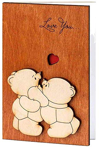 Real Wood Love You Teddy Bears Funny Happy Birthday Greeting Card 5 Dating Wedding Day Anniversary Wooden Gift for Him Her Boy Girl Mom Dad Kids Boyfriend Girlfriend Husband Wife Son Friend e