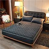 HAIBA Protector de colchón, transpirable, lavable, acolchado, acolchado, sábana bajera con borde totalmente elástico, tamaño king size, 200 x 220 cm + 30 cm, color gris oscuro