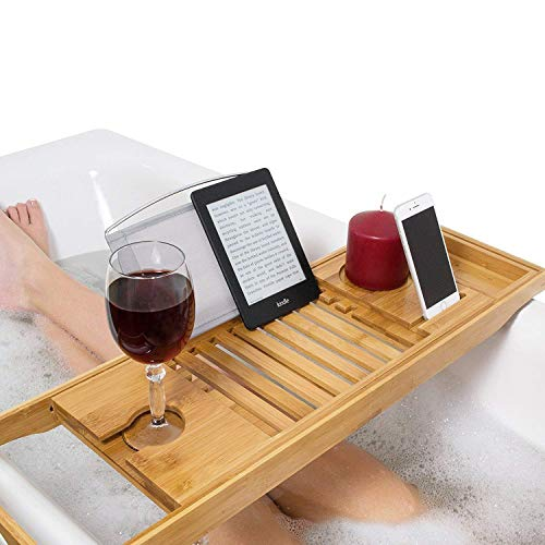 Softmate バスタブトレー バステーブル 大サイズ バスブックスタンド 伸縮式 バスタブラック 竹製 お風呂用品の写真